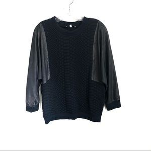Sandro Quilted Virgin Wool Pull Over Sweater